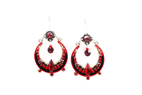 Red Lunette Earrings by Firefly Jewelry