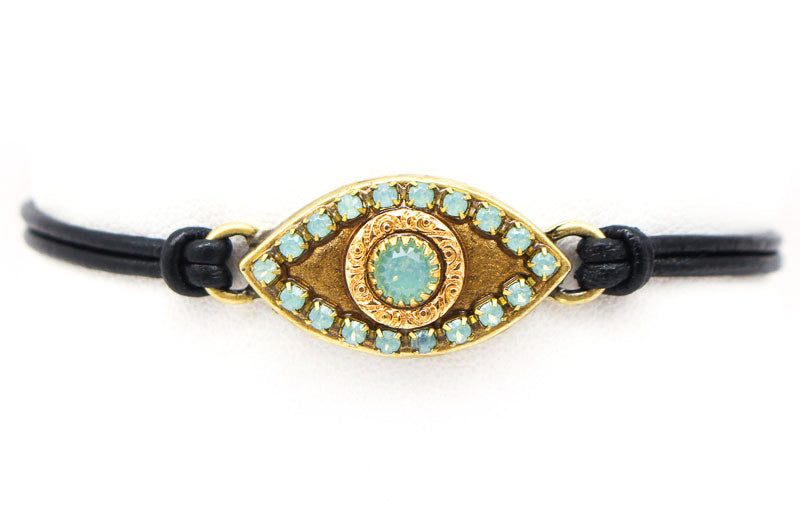 Turquoise Large Gold Eye Leather Bracelet by Michal Golan