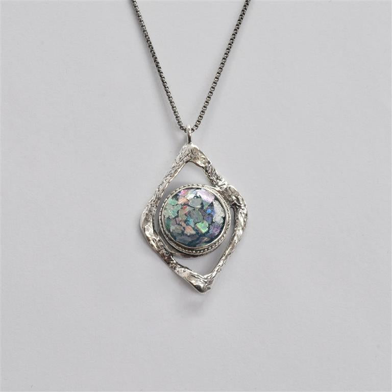 Open Wavy Diamond with Circle Roman Glass Necklace