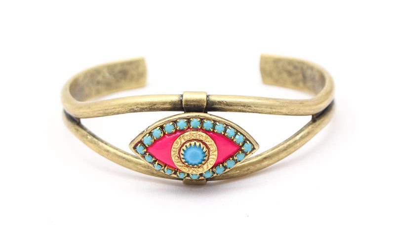 Pink and Blue Eye Cuff Bracelet by Michal Golan