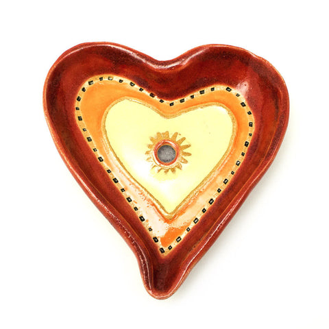 Heart Dish in Red Ceramic Wall Art