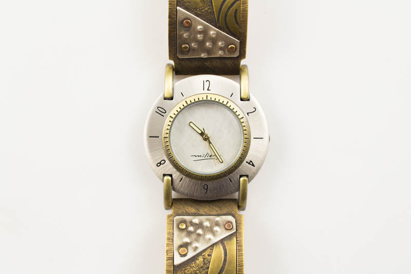 Brass Concrete Desgin with Brass Spiral Design with Triangle Dot on Wide Band Watch