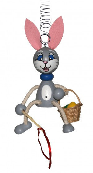 Easter Rabbit with Basket Handcrafted Wooden Jumpie