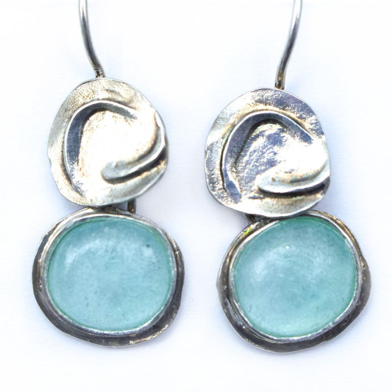 Spiral Disc Washed Roman Glass Earrings
