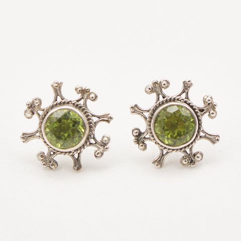 Sterling Silver Ornate Post with Round Faceted Peridot Earrings