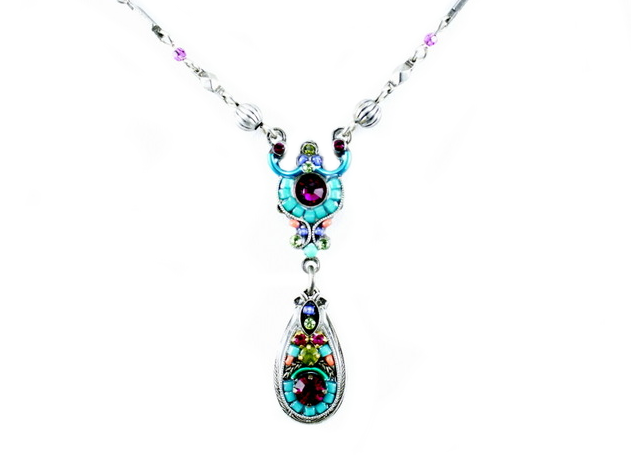 Multi Color Delicate Mosaic Necklace with Drop by Firefly