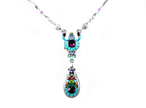 Multi Color Delicate Mosaic Necklace with Drop by Firefly Jewelry