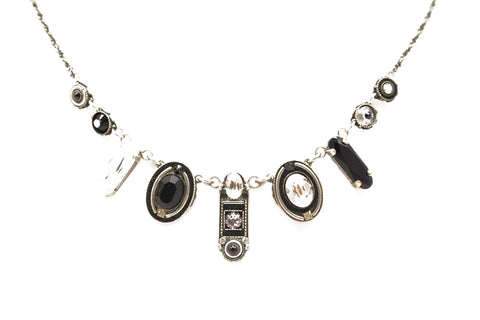 Black and White La Dolce Vita Oval Necklace by Firefly Jewelry