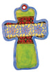Stained Glass Band Flat Cross Ceramic Wall Art