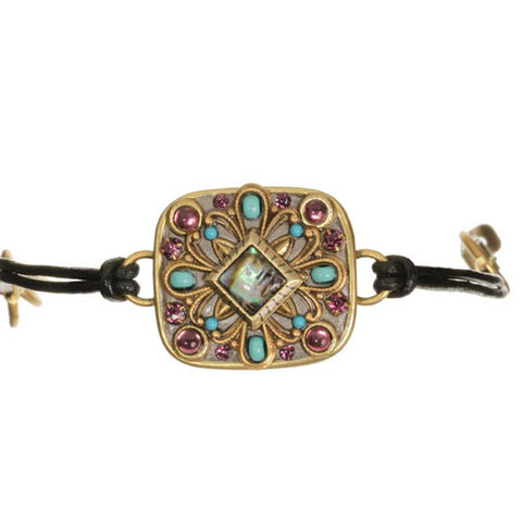 Turkish Bazaar Rectangle with Cord Leather Bracelet by Michal Golan