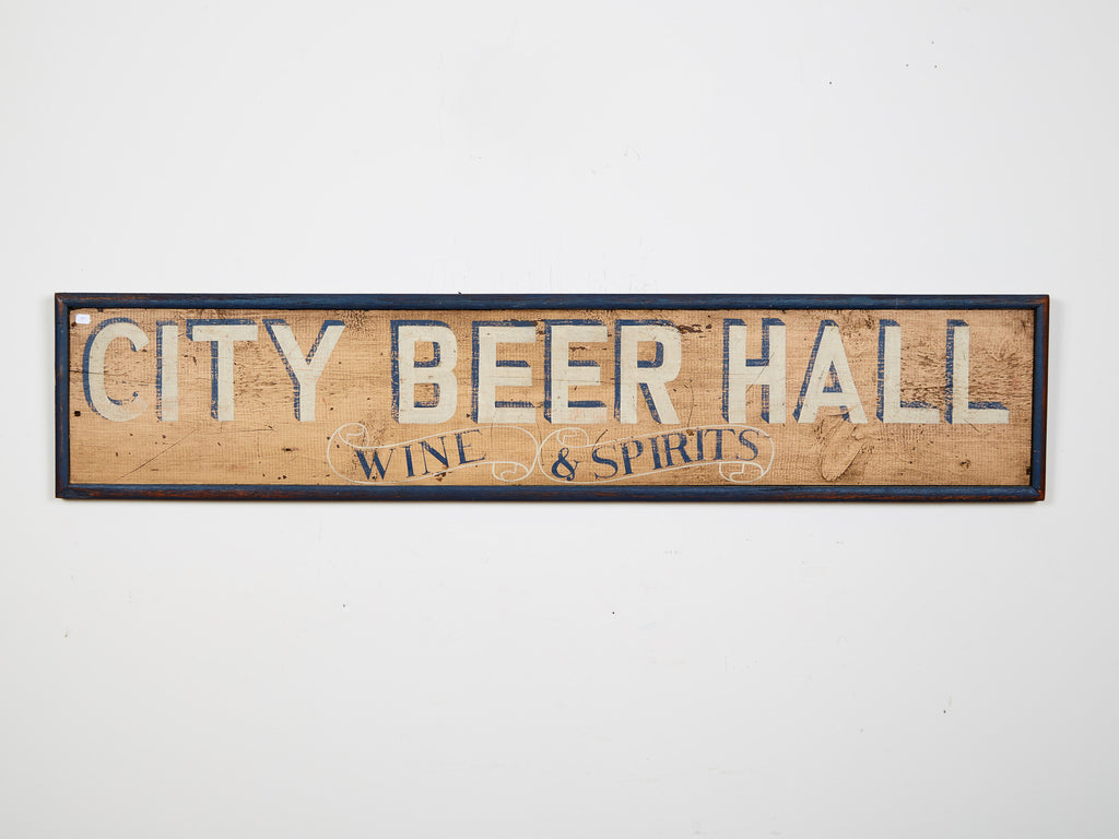 City Beer Hall, Wine & Spirits, Yellow with Black Boarder Americana Art