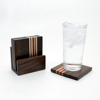 Set of 6 Striped Coasters in Walnut with Holder