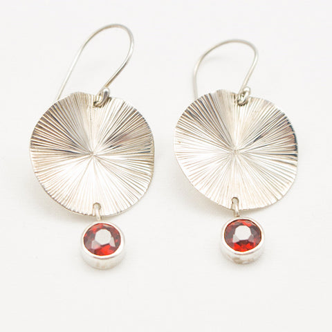Sterling Silver Lily Pad with Garnet Drop Earrings
