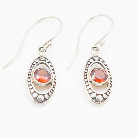 Sterling Silver Oval Cosmos with Garnet Center Dangle Earrings