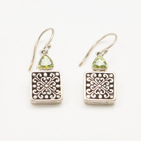 Sterling Silver with Peridot Dangle Earrings