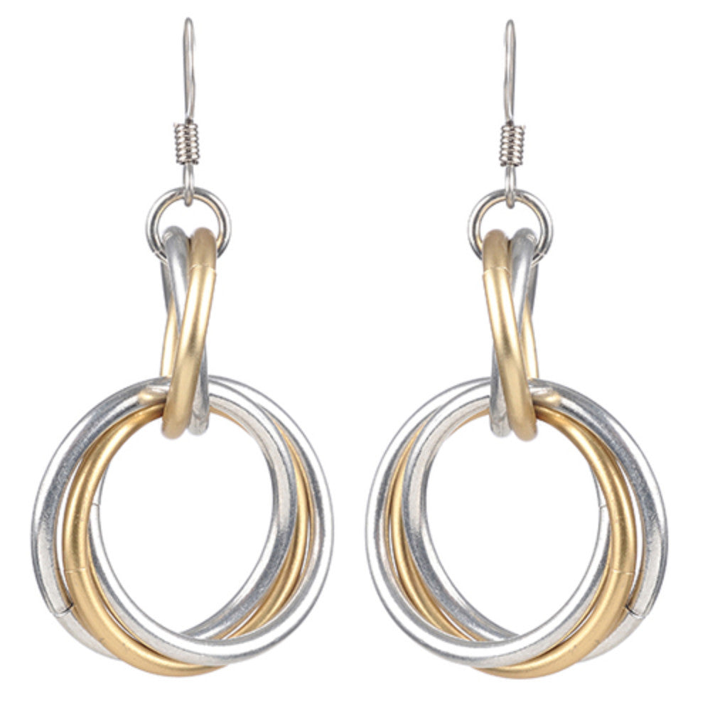 Mix Metal Graduated Two Tier Loopy Earrings