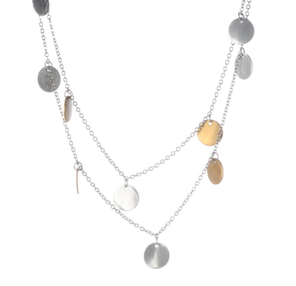 "Mix Metal Long with Small Disc Drops 32"" Necklace"