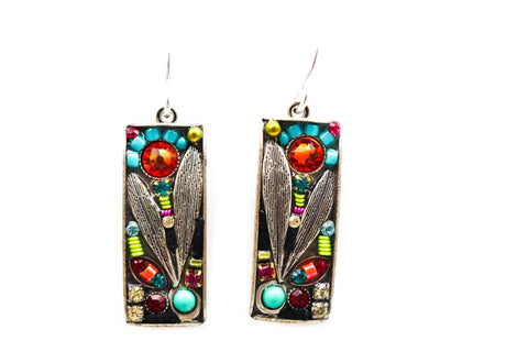 Multi Color Luxe Long Rectangle Earrings by Firefly Jewelry