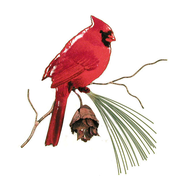 Cardinal with Copper Pine Cone Wall Art by Bovano Cheshire