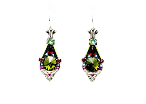 Olivine Floral Pendulum Earrings by Firefly Jewelry