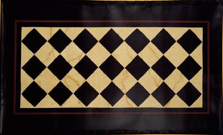 Diamond Floorcloth with Border in Marble - Size 32'' x 52''