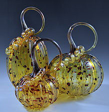 Hand Blown Glass Small Pumpkin in Gold with Dots