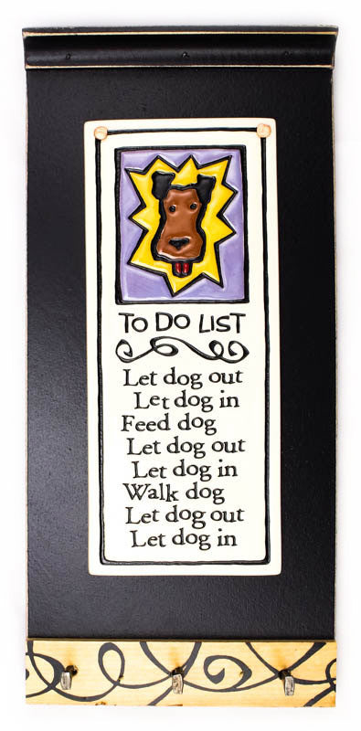 To Do List Ceramic Tile on Wooden Key Holder
