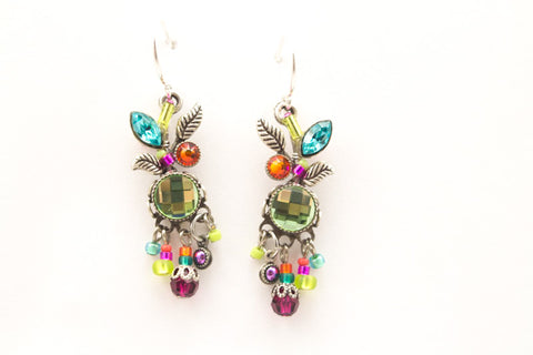 Multi Color Leaf and Fruit Dangle Earrings by Firefly Jewelry