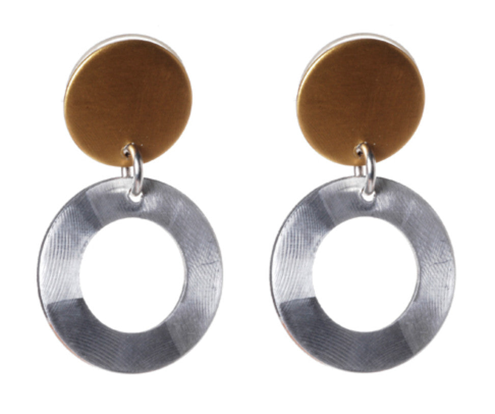 Mix Metal Small Open Circle with Solid Disc Top Earrings