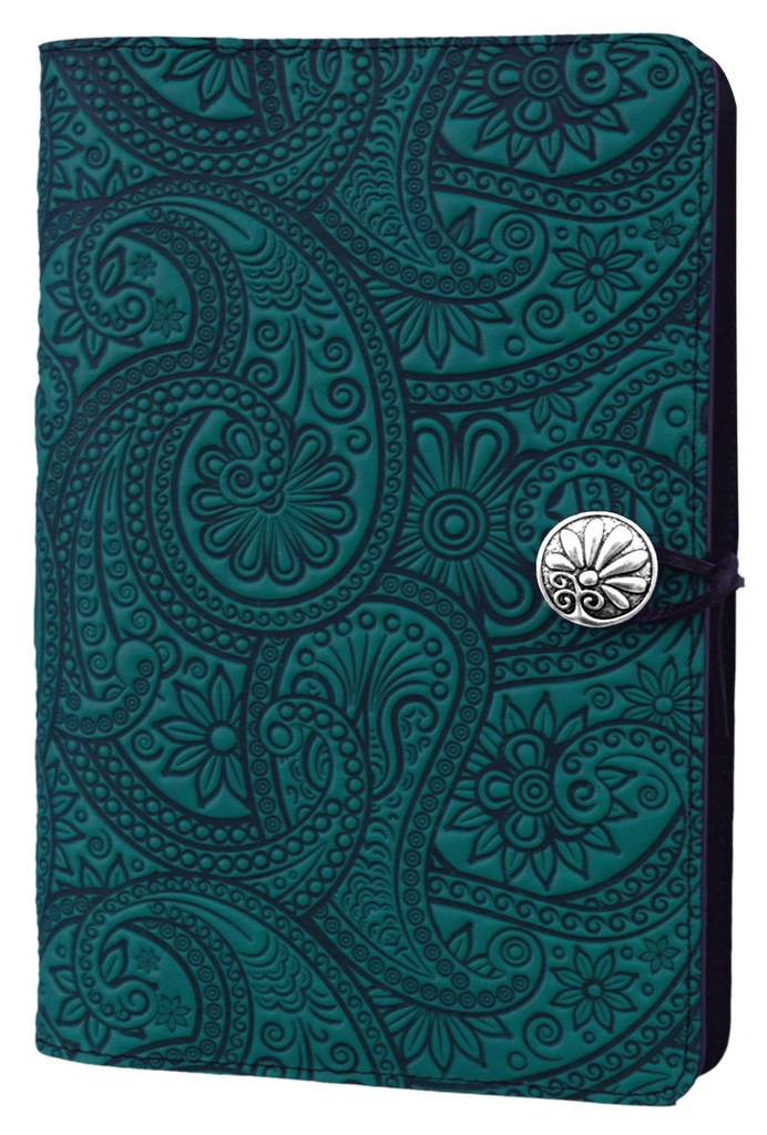 Small Leather Journal -  Paisley in Teal