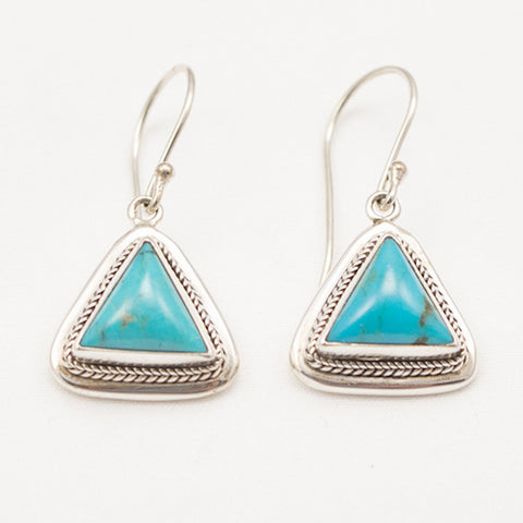 Sterling Silver Triangle Earrings with Turquoise