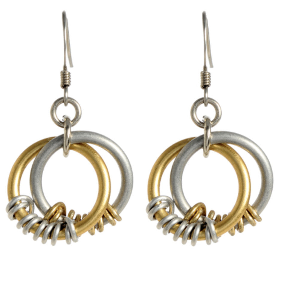 Double Loop with Contrasting Wrap Earrings
