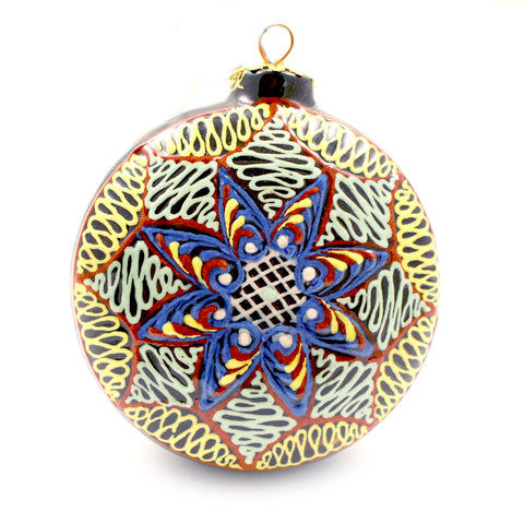 Blue, Red, and White Small Round Ceramic Ornament