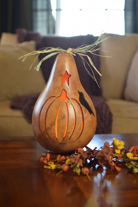 Pumpkin Silhouette Gourd - Available in Multiple Sizes