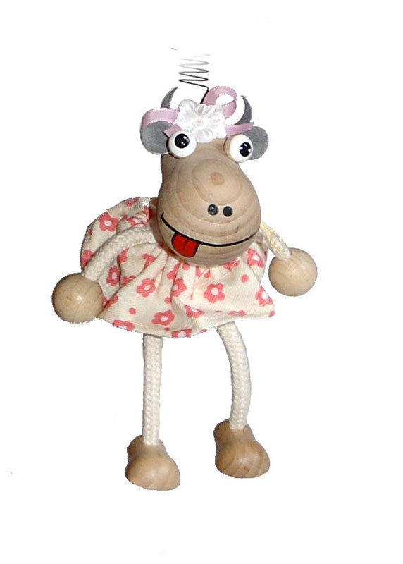 Cow With Dress Handcrafted Wooden Jumpie