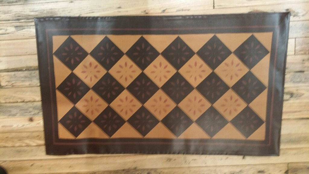 Diamond with Starburst Floorcloth with Border in Antique - Size 32'' x 52''