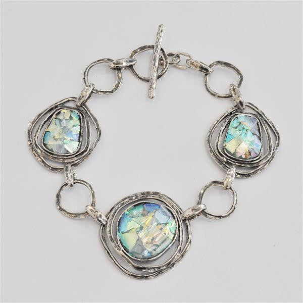 Three Ringed Rounds Washed Roman Glass Bracelet