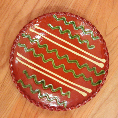 Redware 7'' Plate with Green and White Lines