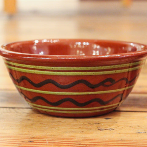 Redware Bowl with Black and Green Lines
