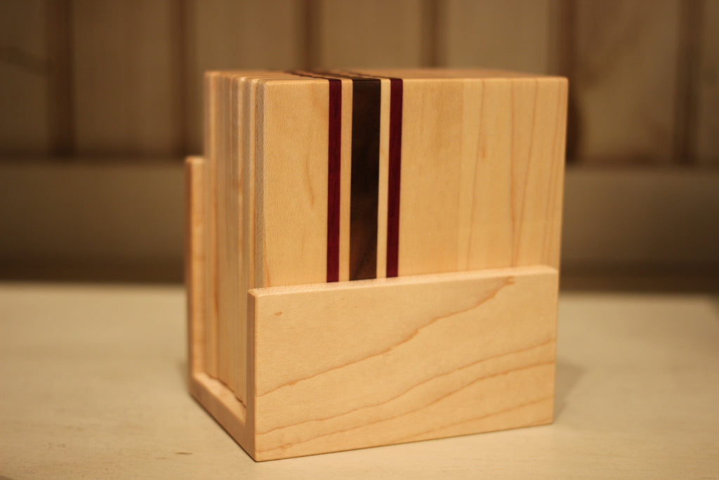Set of 6 Striped Coasters in Maple with Holder
