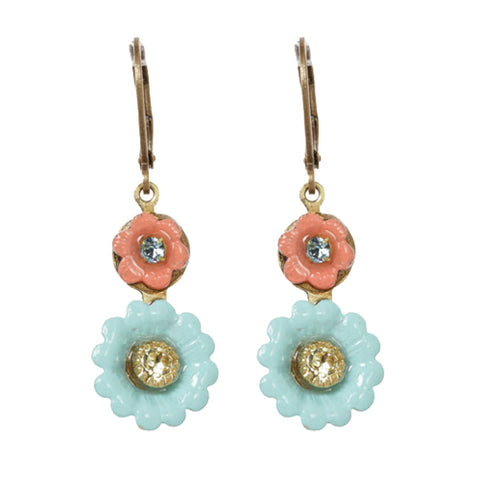 Flower Pink and Blue Earrings