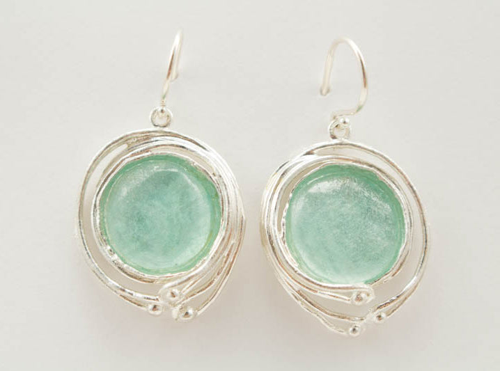 Large Wave Washed Roman Glass Earrings