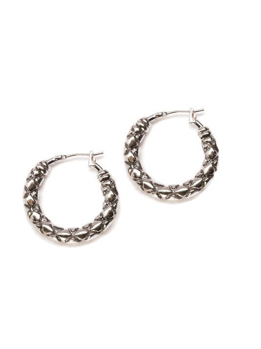 Lattice Collection, Palermo Edition, Small Rhodium Hoop Earrings by John Medeiros