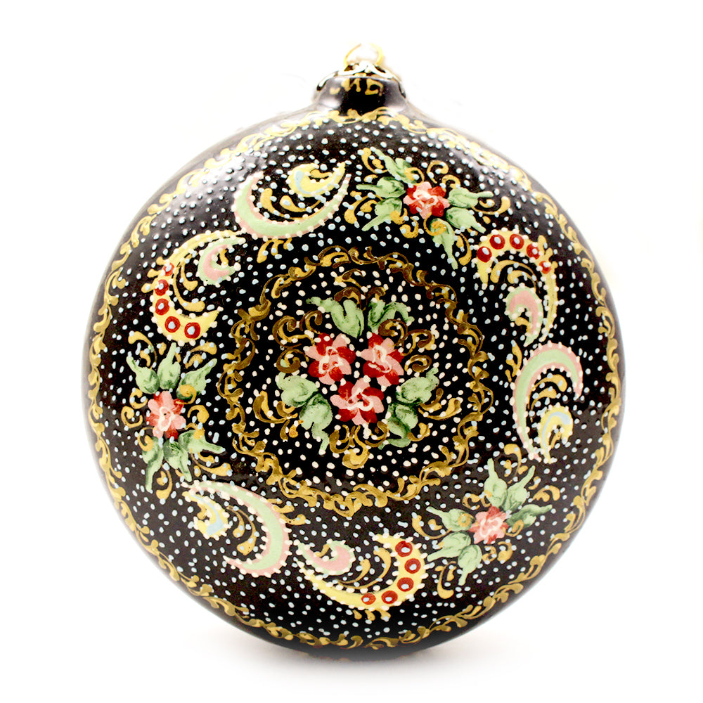 Red Flowers with Yellow Curved Line Large Round Ceramic Ornament