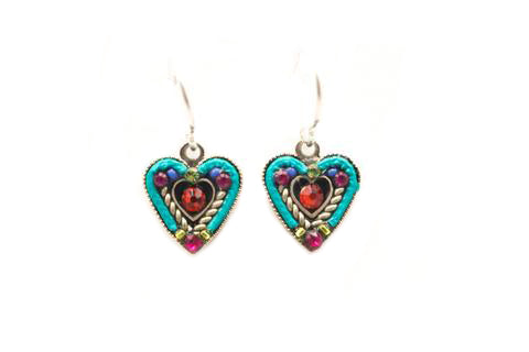 Multi Color Heart Within A Heart Earrings by Firefly Jewelry