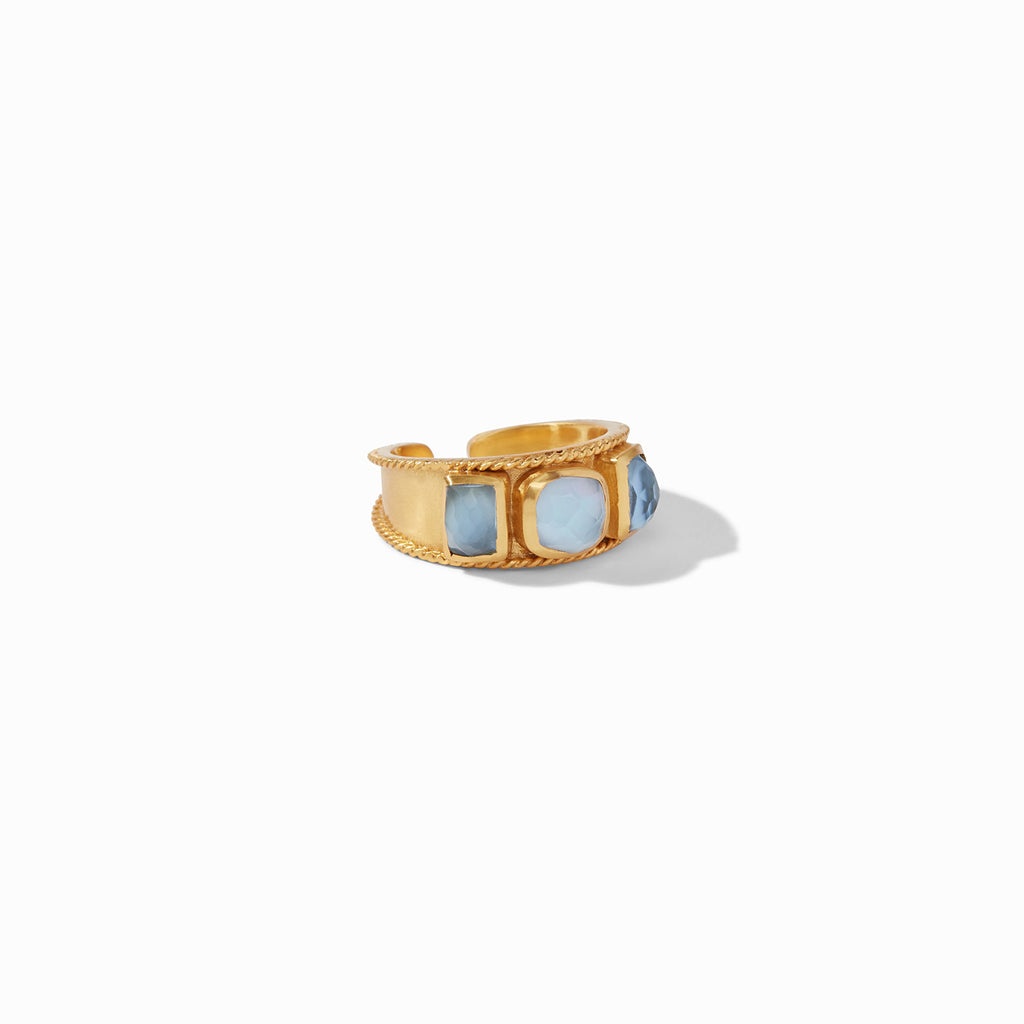 Savoy Ring Gold Iridescent Chalcedony Blue Size 6/7 by Julie Vos