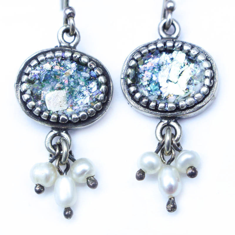 Pearl Drops with Roman Glass Earrings