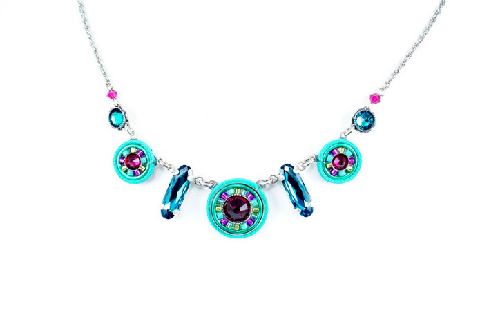 Indicolite La Dolce Vita Circles Necklace by Firefly Jewelry