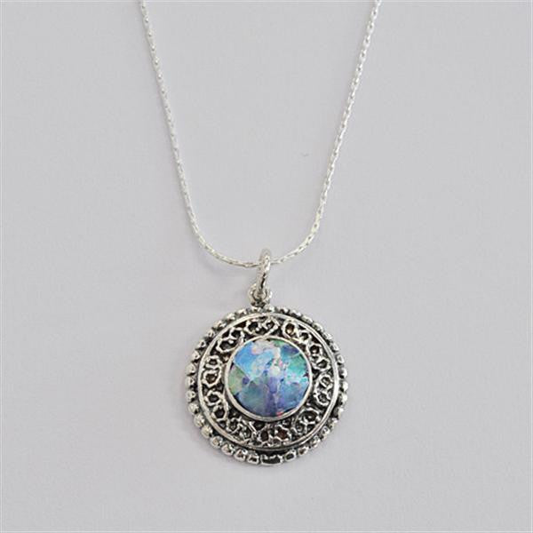 Elaborately Framed Round Patina Roman Glass Necklace