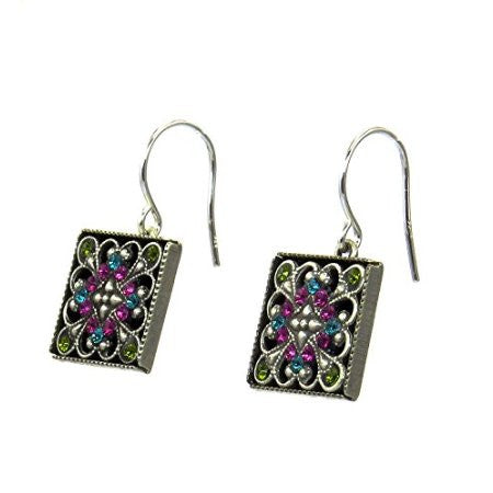 Multi Color Square Filigree Earrings by Firefly Jewelry